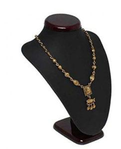 Buste porte bijoux en bois et simili cuir