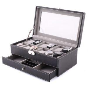 Coffret bijoux et boîte à montres en cuir