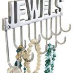 Porte bijoux mural en métal argent