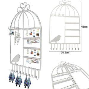 Porte bijoux mural vintage en forme de cage à oiseaux